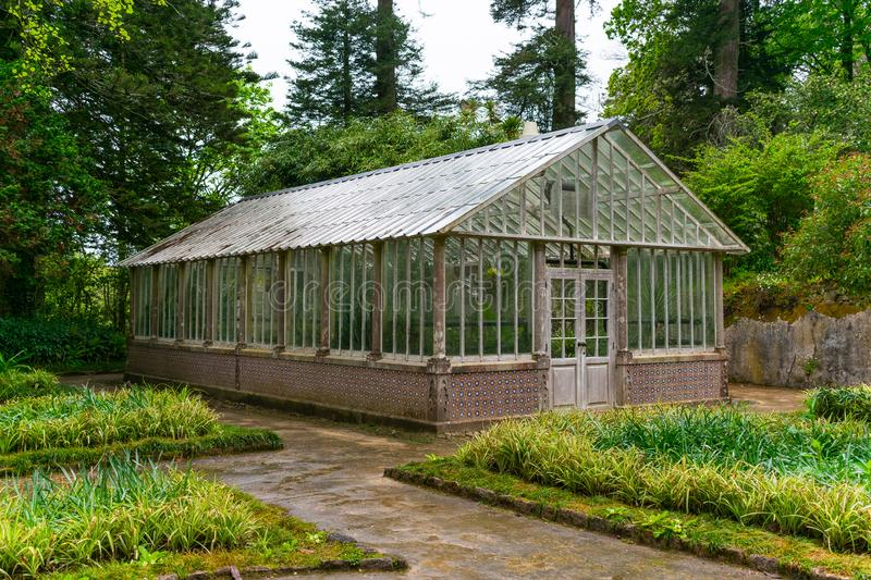 Sintra, Portugal/Europe; 15/04/19: Old greenhouse in Pena Park, Unesco World Heritage place in Sintra, Portugal royalty free stock photo