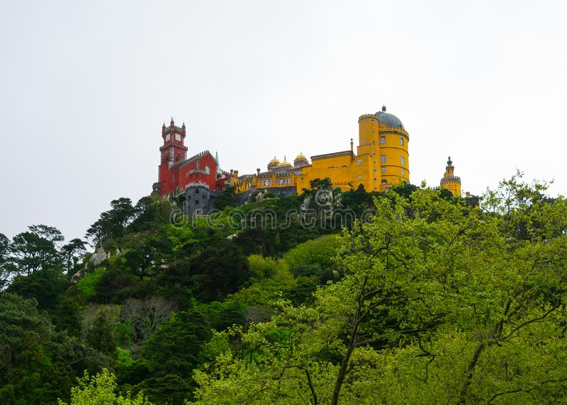 Sintra, Portugal/Europe; 15/04/19: Romanticist Palace of Pena in Sintra, Portugal. One of the most beautiful palaces in Europe. Construction, attraction, tower royalty free stock photos