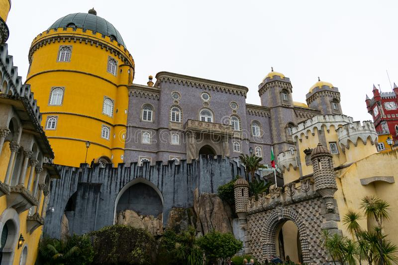 Sintra, Portugal/Europe; 15/04/19: Romanticist Palace of Pena in Sintra, Portugal. One of the most beautiful palaces in Europe. Construction, attraction, tower stock images