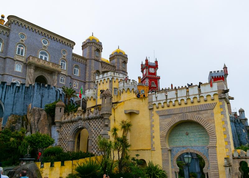 Sintra, Portugal/Europe; 15/04/19: Romanticist Palace of Pena in Sintra, Portugal. One of the most beautiful palaces in Europe. Construction, attraction, tower stock image