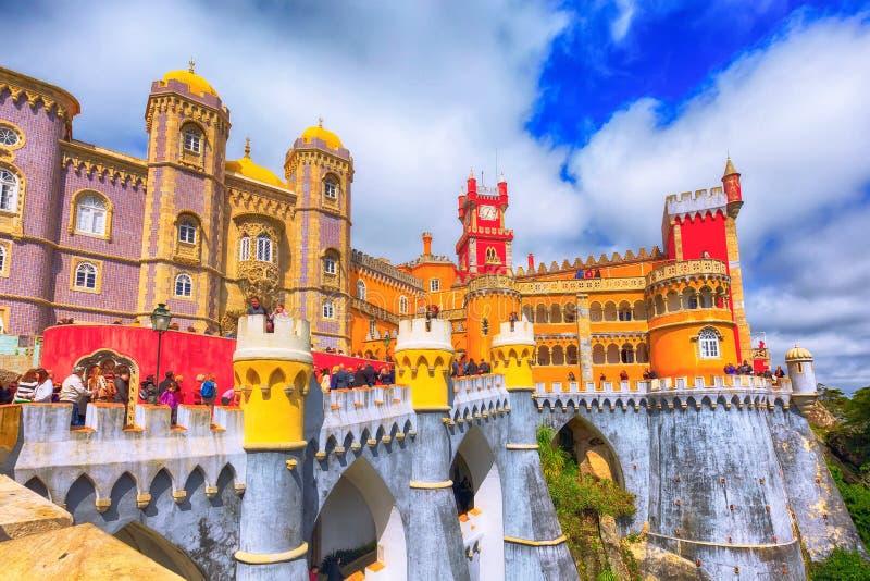 Sintra Portugal gränsmärke, Pena slott arkivbild