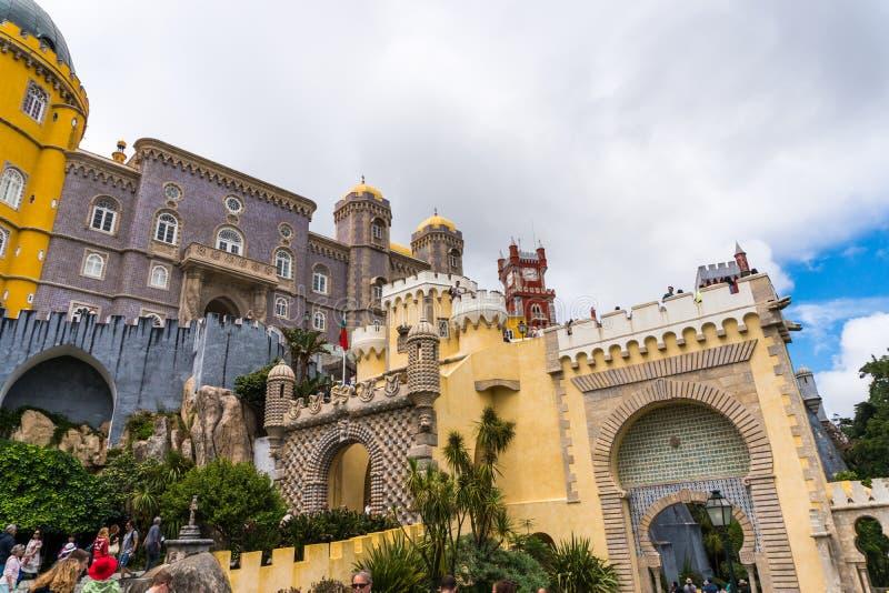 Sintra Portugalia, Czerwiec, -, 2017 Pena Krajowy pałac, sławny punkt zwrotny, Sintra, Lisbon, Portugalia, Europa obrazy stock