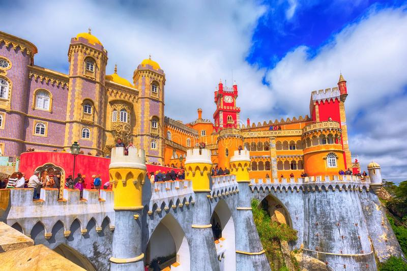 Sintra, Portugalia punkt zwrotny, Pena pałac fotografia stock