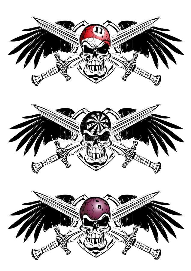 Sinuca, dardos e emblema do protetor do boliches ilustração royalty free