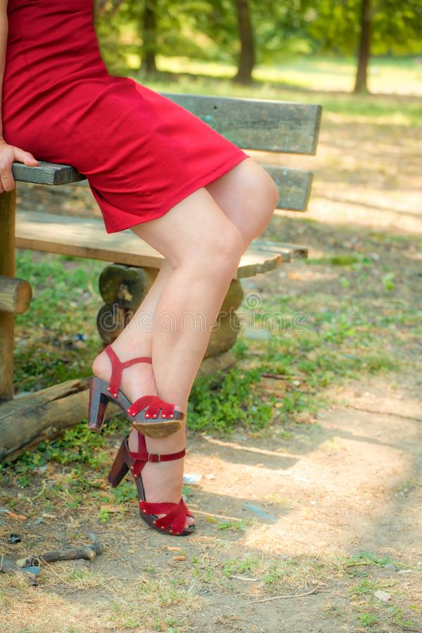 Sinuous crossed legs of classy woman royalty free stock photos
