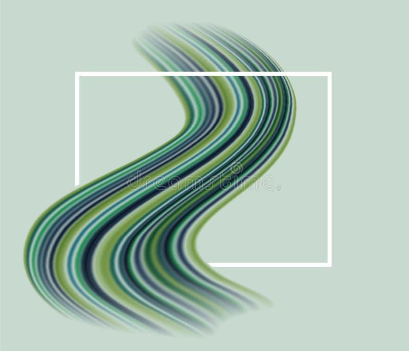 Sinuous multicolor зеленый brushstroke через прямоугольную рамку, абстрактная предпосылка краски знамени бесплатная иллюстрация
