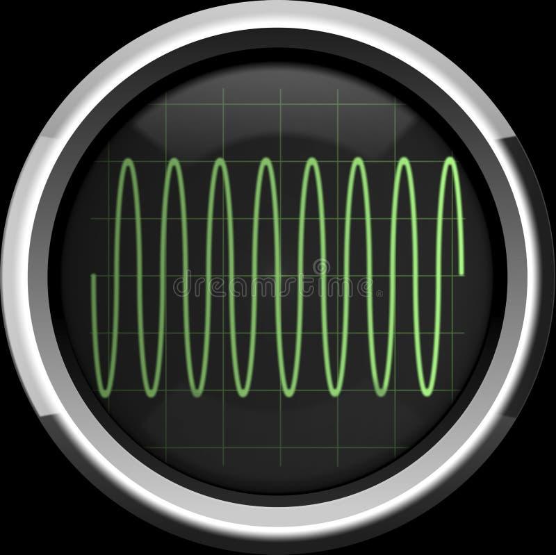 Sinusa sygnał na oscyloskopu ekranie w zielonych brzmieniach ilustracja wektor
