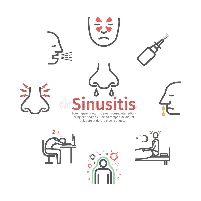 Sinusitis banner. Symptoms, Treatment. Line icons set. Vector signs for web graphics. Sinusitis. Symptoms. Line icons set. Vector signs for web graphics vector illustration