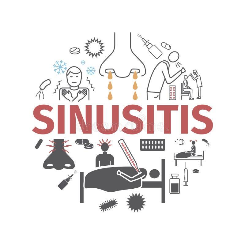 sinusitis Symptomen, Behandeling Geplaatste lijnpictogrammen royalty-vrije illustratie