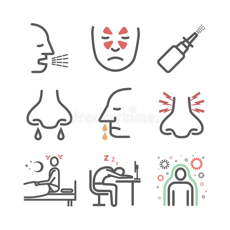 Sinusitis. Symptoms, Treatment. Line icons set. Vector signs for web graphics royalty free illustration