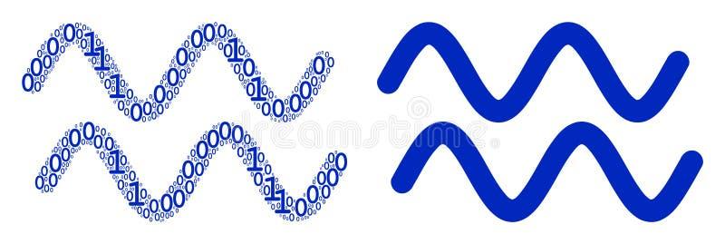 Sinusoida Macha mozaikę Binarne cyfry ilustracji