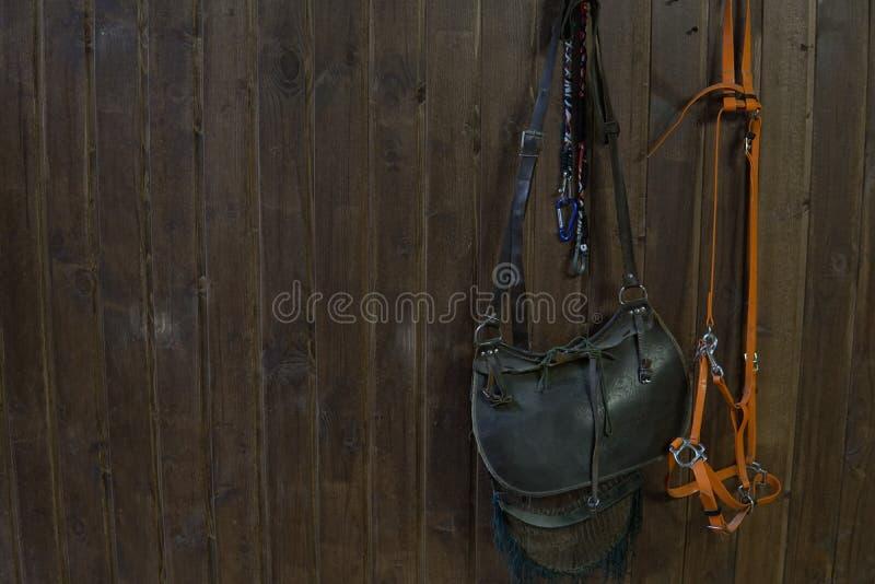 Siodłowy koń ogranicza na Brown drewnianej ścianie zdjęcie stock