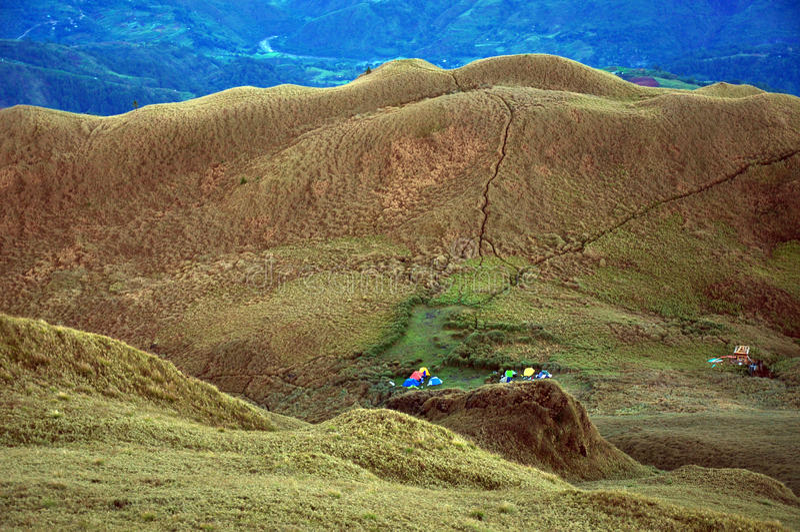 Siodłowy obóz przy Mt Pulag, Benguet prowincja, Filipiny fotografia royalty free