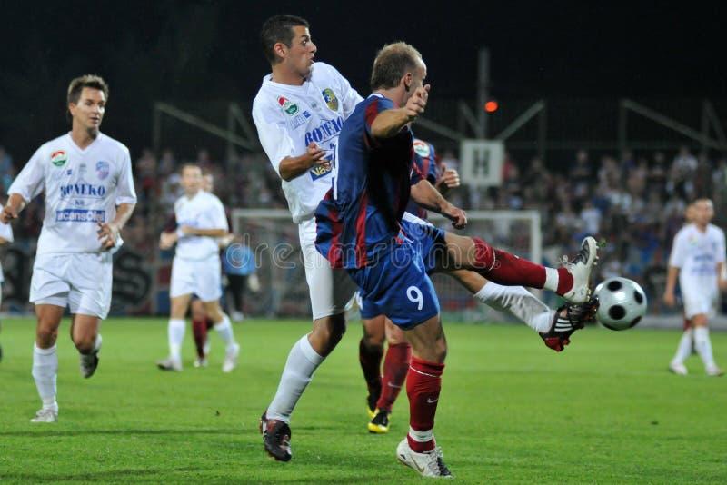 Siofok - Fehervar voetbalspel royalty-vrije stock foto
