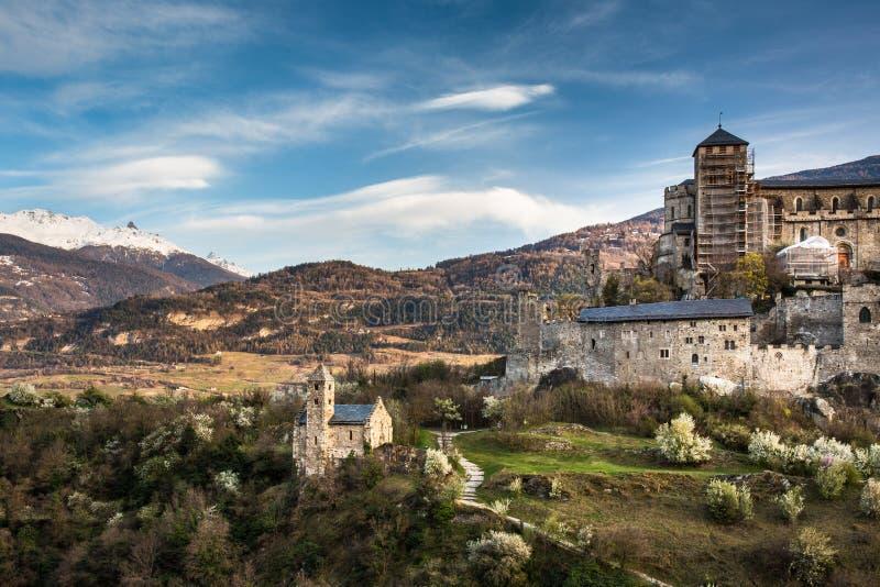 Sion, het kasteel van Zwitserland - van Valere royalty-vrije stock foto's