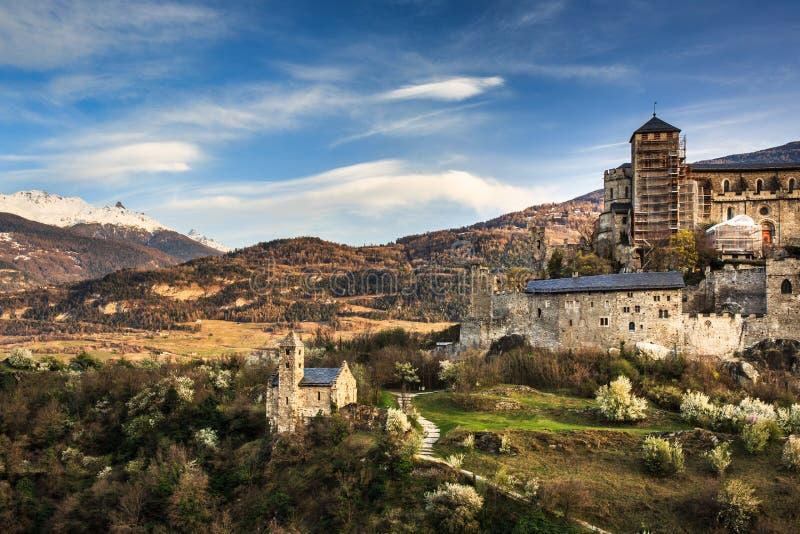 Sion, het kasteel van Zwitserland - van Valere stock afbeelding