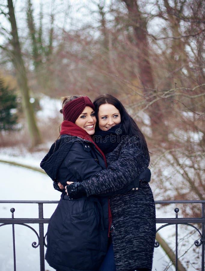 Siostry Ściska w Ten Zimnym zima parku zdjęcie royalty free