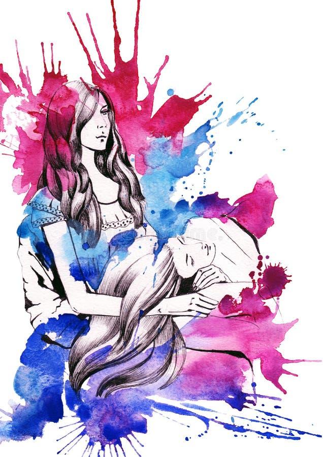 Download Siostry ilustracji. Ilustracja złożonej z przyjaźń, grupa - 53780863