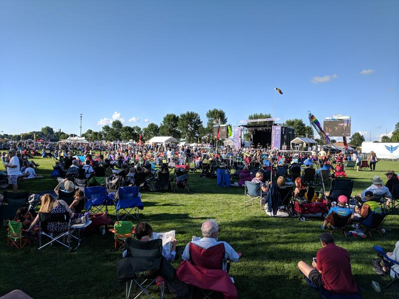 Sioux Falls JazzFest 2018. The weather was great, sun out, not too hot, and everyone setup their chairs in the shade they could find at the free concert in the royalty free stock images