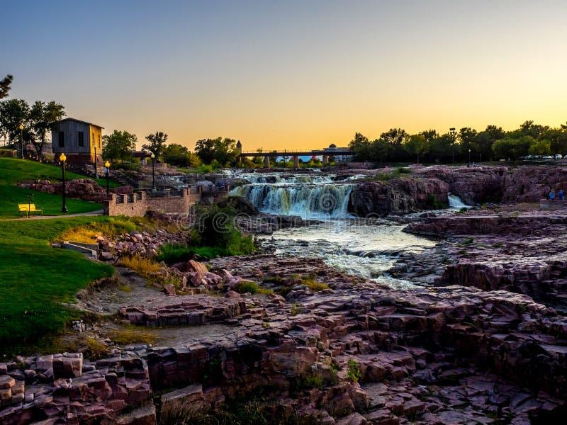 Sioux Falls Park au crépuscule photographie stock