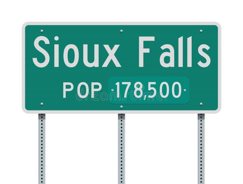 Sioux Falls skrivande in vägmärke royaltyfri illustrationer