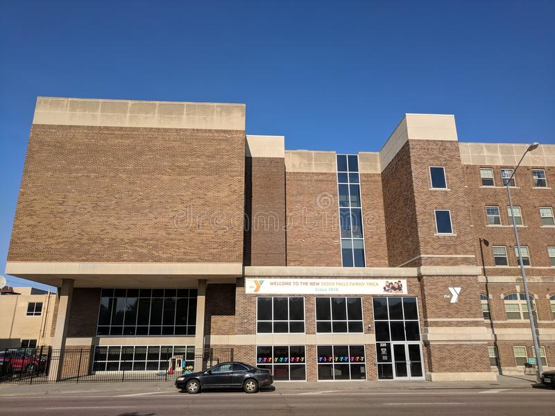 Sioux Falls YMCA. The Y in downtown Sioux Falls, South Dakota, on Minnesota Ave stock photos