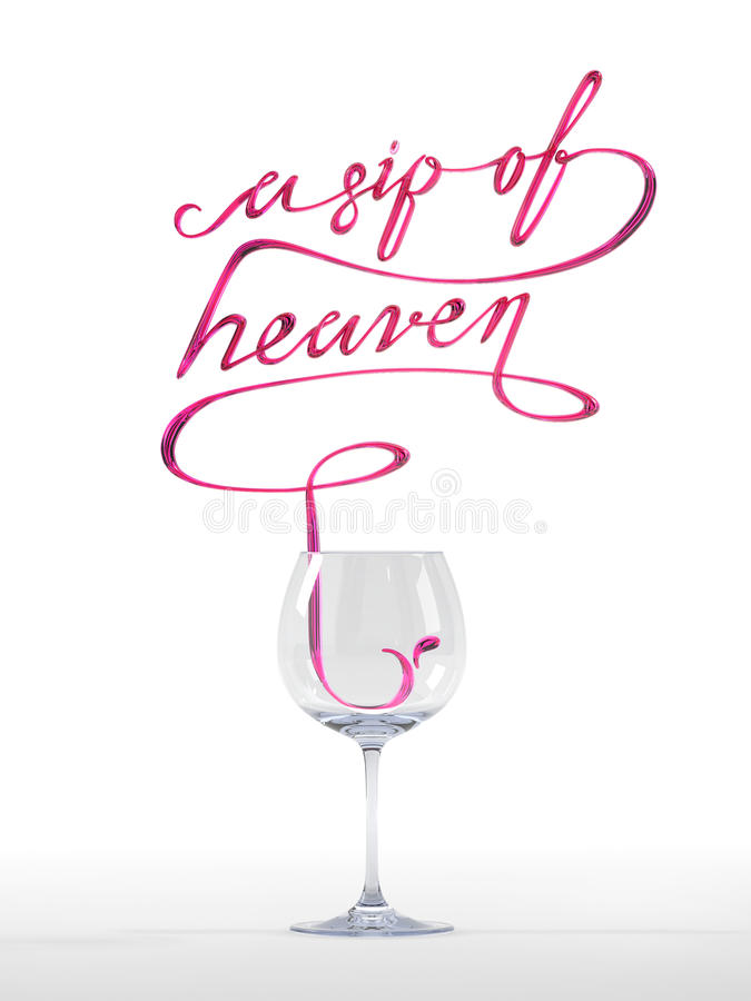 A sip of heaven quote with wine glass 3D rendering stock photos