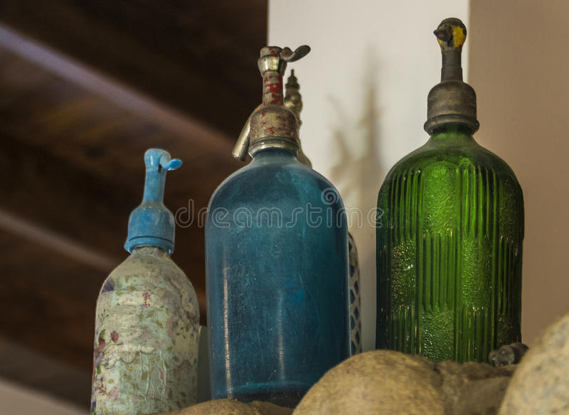 Siphon. Old siphon used to serve soda, or aerated water on the table royalty free stock image