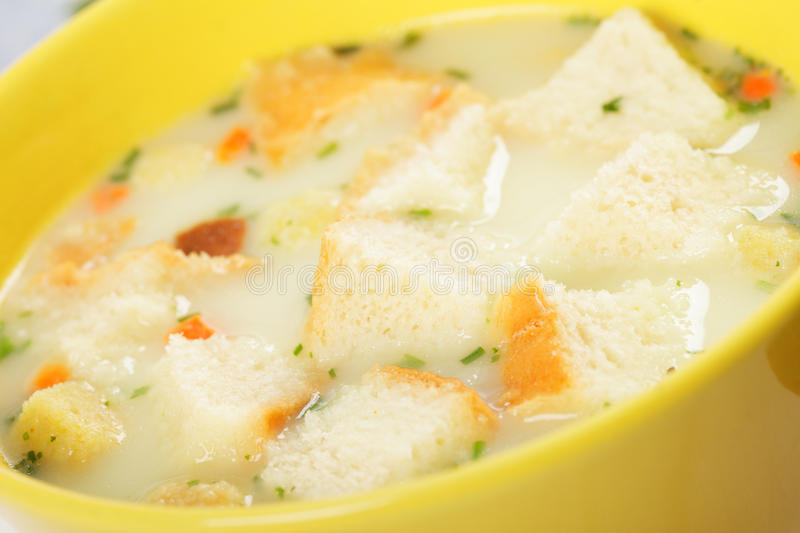 Sippets in cheese cream soup royalty free stock image