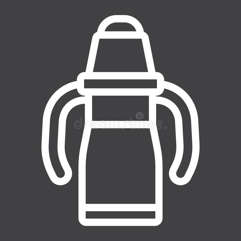 Sippy cup line icon, baby cup and bottle stock illustration