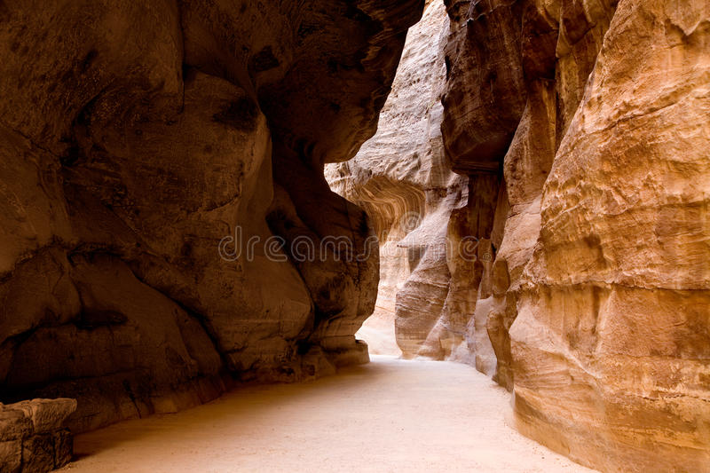 The Siq - ancient canyon in Petra royalty free stock photo