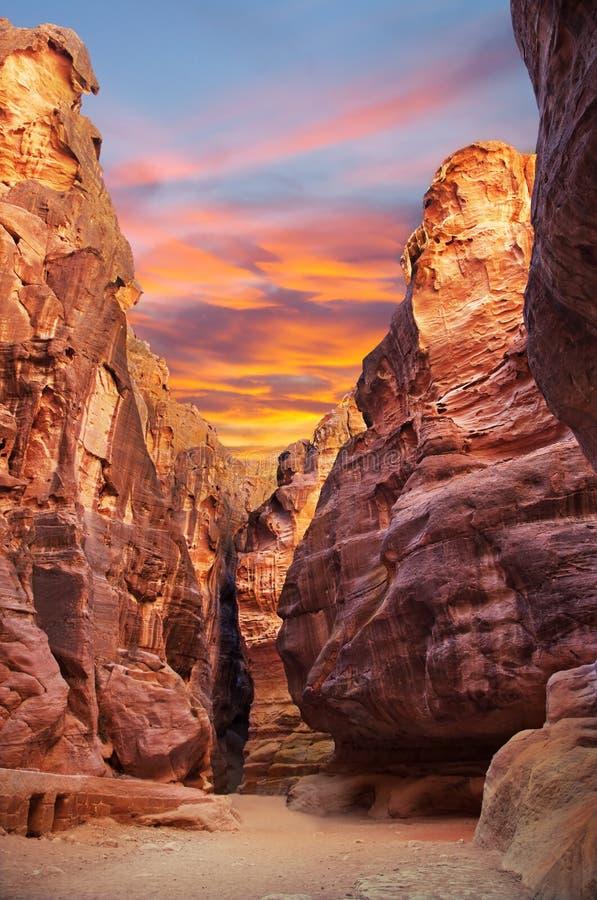 Siq gorge in Petra, Jordan royalty free stock photo