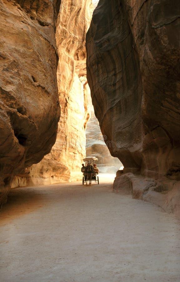 The Siq in Petra, Jordan stock photo