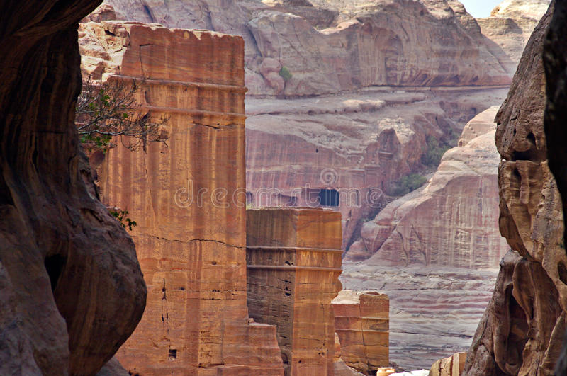 The Siq Road canyon, Petra, Jordan. royalty free stock images