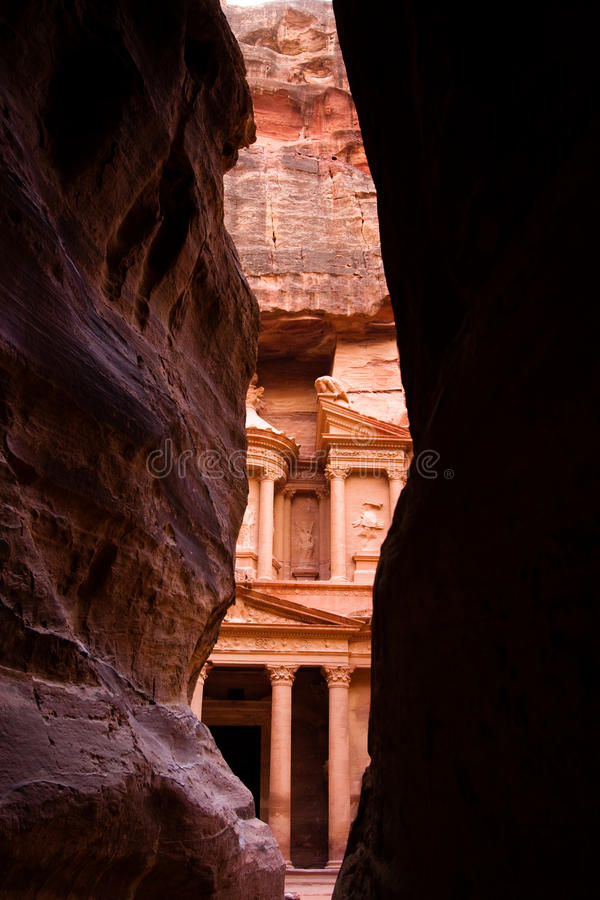 Siq and treasury in Petra stock photos