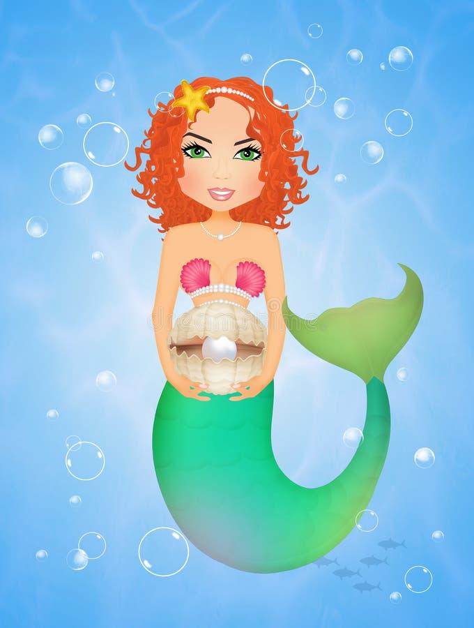 Sirène avec la coquille et la perle illustration de vecteur