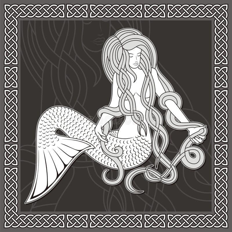 Sirène avec le cadre celtique illustration stock