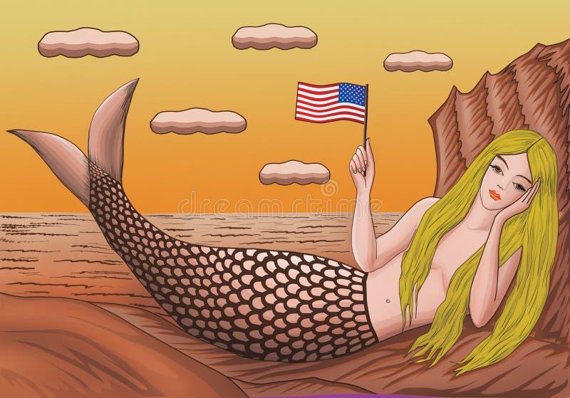Sirène avec les cheveux d'or sur la plage avec un drapeau américain illustration stock
