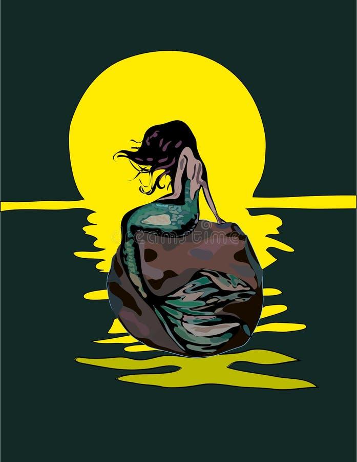 Sirène avec les cheveux et la queue verte sur un lever de soleil de roche bleue d'isolement sur le bacground blanc Illustration d illustration stock