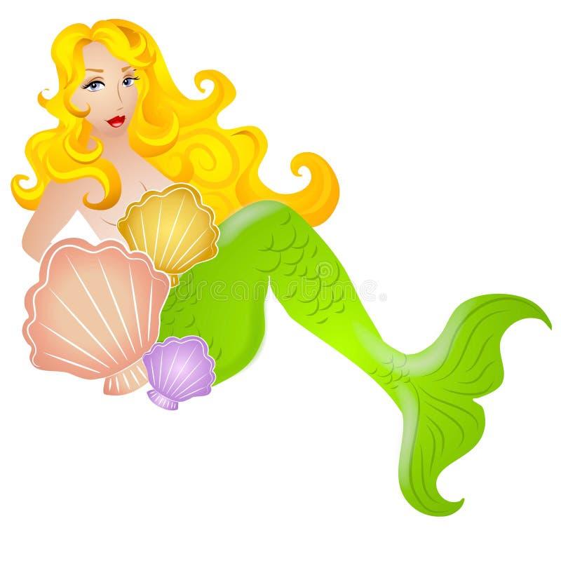 Sirène blonde avec des Seashells illustration stock