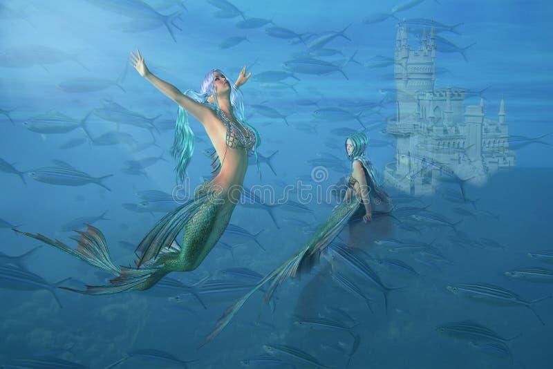 Sirène d'imagination et eau du fond de château illustration stock