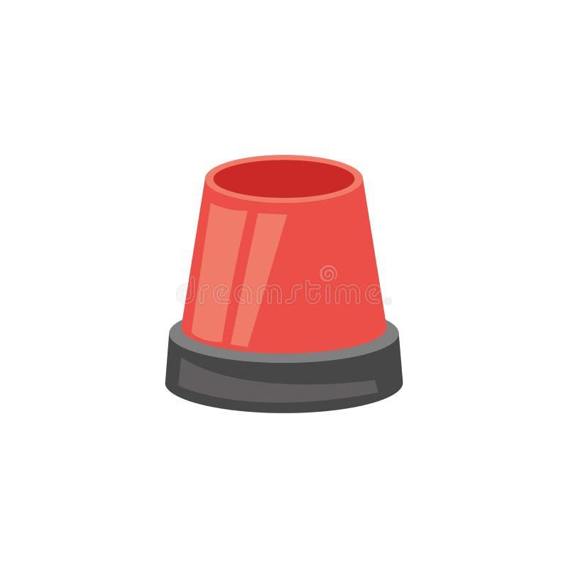 Sirène de sapeurs-pompiers ou conception plate de vecteur de signe d'alarme de secours d'isolement sur le blanc, illustration de vecteur