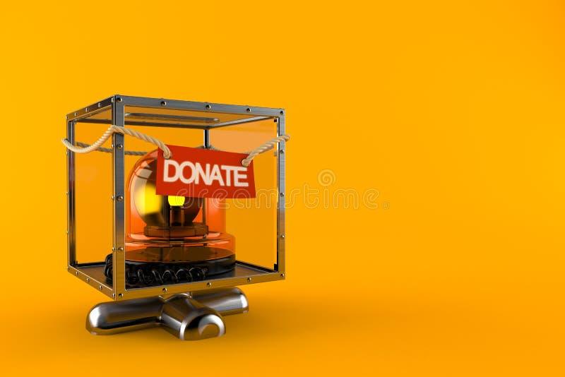 Sirène de secours à l'intérieur de boîte de donation illustration stock