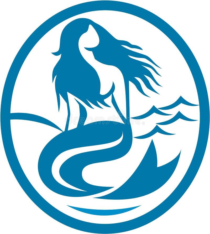 Sirène de sirène reposant rétro ovale de chant illustration de vecteur