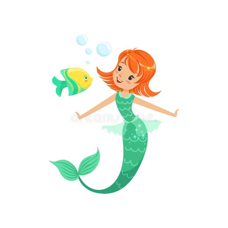 Sirène de sourire nageant sous l'eau avec de petits poissons Princesse marine rousse de conte de fées avec la queue Appartement d illustration libre de droits