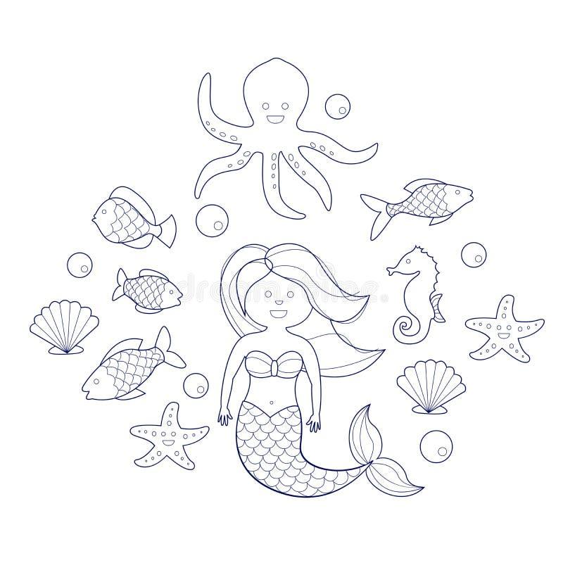 Sirène et animaux de mer, livre de coloriage pour des enfants illustration libre de droits