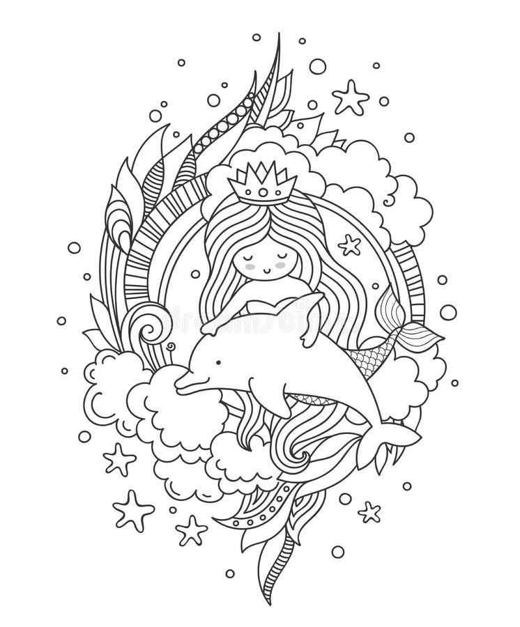 Sirène et dauphin, entourés par les nuages et l'algue illustration de vecteur