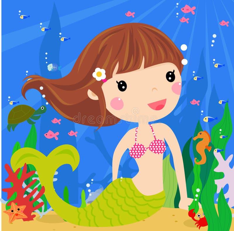 Sirène mignonne illustration libre de droits