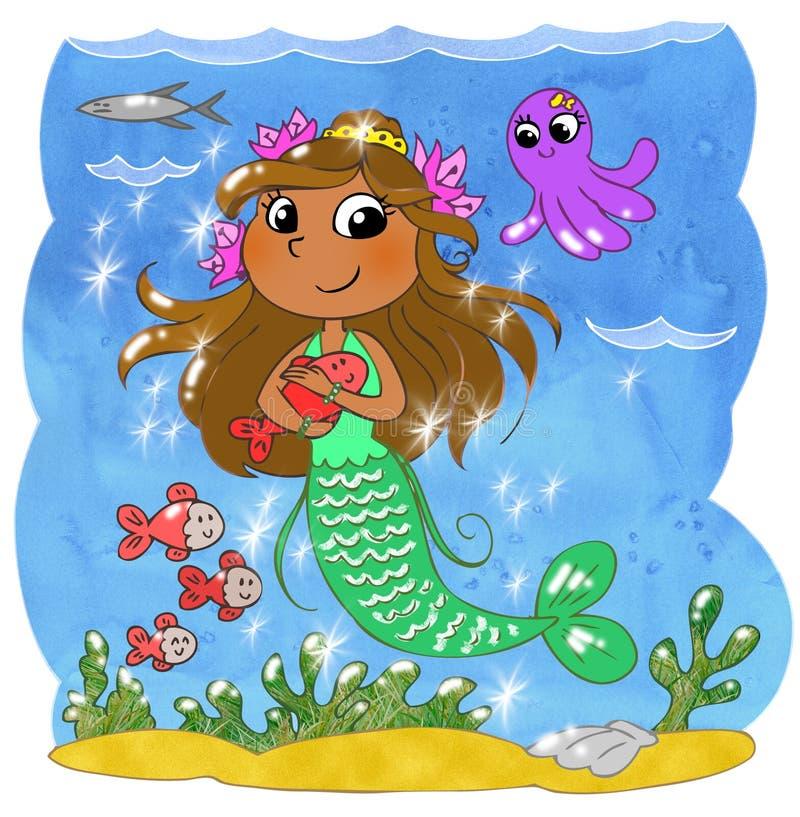 Sirène mignonne de dessin animé illustration stock