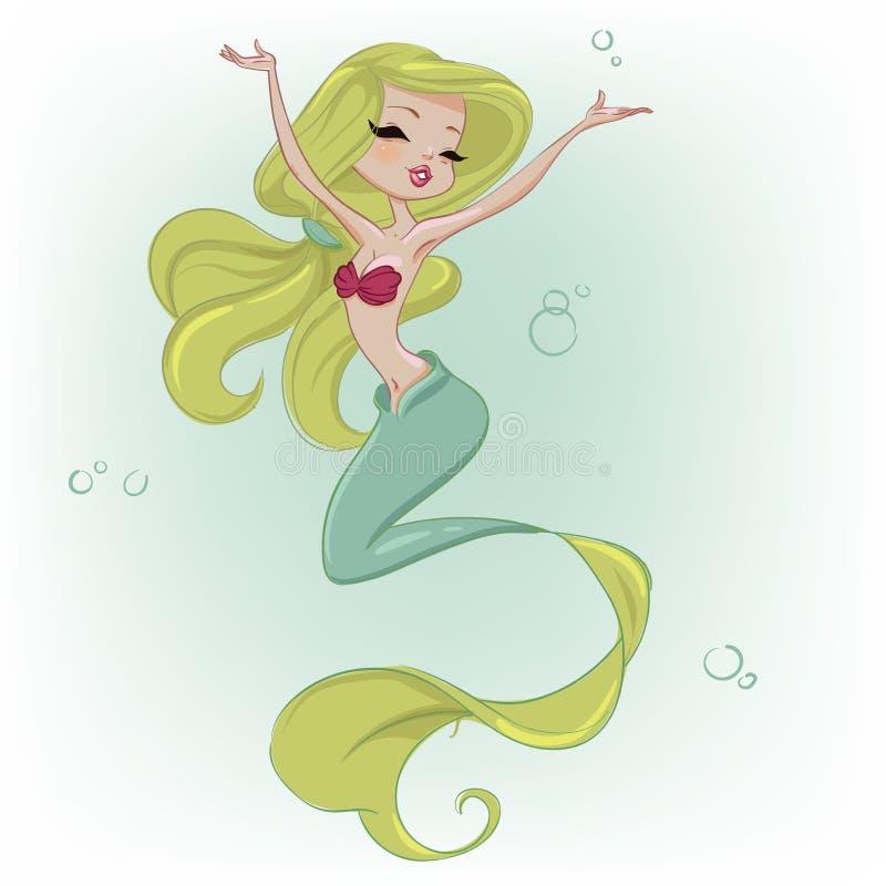 Sirène mignonne de dessin animé illustration de vecteur